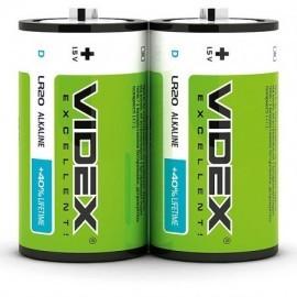 Батарейка LR20 лужна Videx, D, 2шт шрінк