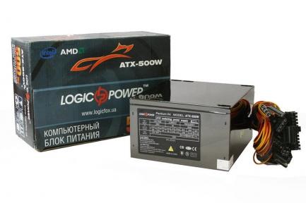 Блок живлення Logicpower ATX-500W, 12см, без кабелю живлення
