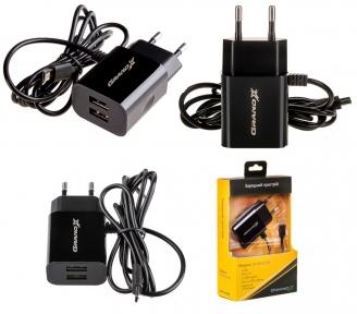 Зарядний пристрій USB 220В Grand-X 5V 2,1A (CH-35) 2USB + micro
