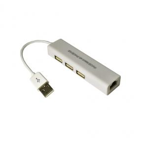 Хаб-юсб Dynamode USB 2.0 - RJ45 10/100 Мбит/с, 3*USB 2.0-порта