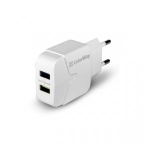 Зарядний пристрій USB 220В Colorway 2USB 2.4A білий (CW-CHS004-WT