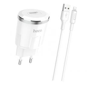 Зарядний пристрій USB 220В Hoco C37A Thunder c Lightning (EU) (