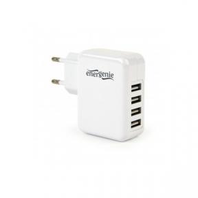 Зарядний пристрій USB 220В EnerGenie EG-U4AC-02 4 USB, 3.1A