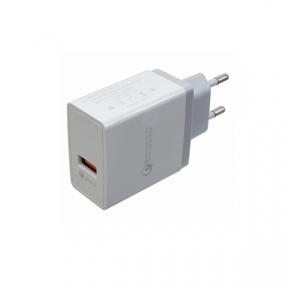 Зарядний пристрій USB 220В PATRON QUICK CHARGE 3.0 1xUSB WHITE (