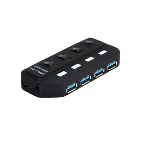 Хаб-юсб 3.0 4ports Lapara (LA-USB305) 4 порта с БП 2А/5В, с 4-ма вимикачами ON