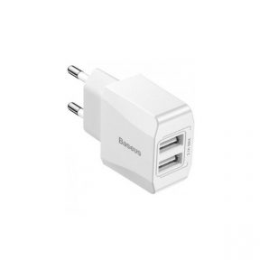 Зарядний пристрій USB 220В Baseus Wall Charger 2xUSB 2.1A Mini