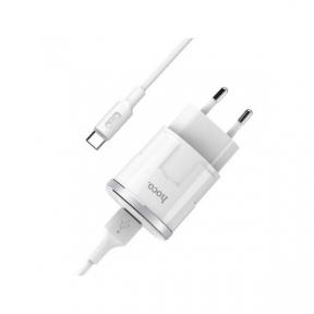 Зарядний пристрій USB 220В Hoco C37A Thunder c Type-C (EU) (1USB