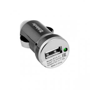 Автомобільний зарядний пристрій DEFENDER 1 port USB 1A (ECA-01) чорний