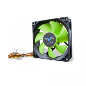 Вентилятор 80 mm Frime FGF80HB3, 3Pin, Black/Green, 80x80x25мм