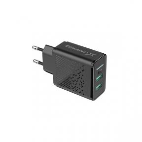 Зарядний пристрій USB 220В Grand-X 5V 3,1A (CH-60) 2USB із захистом