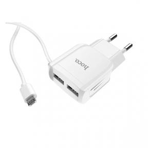 Зарядний пристрiй USB 220В Hoco C59A c Micro USB (2USB 2.4A) white