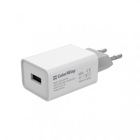 Зарядний пристрій USB 220В Colorway 1USB AUTO ID 2A (10W) білий (