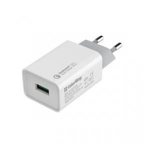 Зарядний пристрій USB 220В Colorway 1USB Quick Charge 3.0 (18W) білий (