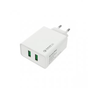 Зарядний пристрій USB 220В Colorway 2USB Quick Charge 3.0 (36W) білий (