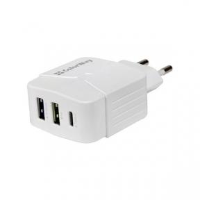 Зарядний пристрій USB 220В Colorway (Type-C PD + USB QC3.0) (