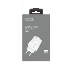 Зарядний пристрій USB 220В Celebrat CU01 c Lightning (2USB, 2