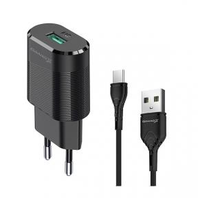 Зарядний пристрій USB 220В Grand-X CH-17T 5V 2,1A з кабелем Type