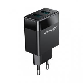 Зарядний пристрій USB 220В Grand-X CH-50T 2USB 5V 2,4A з кабелем