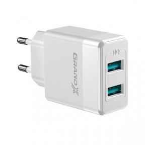 Зарядний пристрій USB 220В Grand-X CH-50W 2USB 5V 2,4A White із