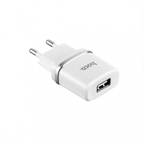 Зарядний пристрiй USB 220В Hoco C11 (1USB, 1А) white