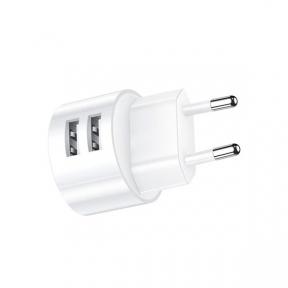Зарядний пристрiй USB 220В Usams Set Send-Tu (T20 Dual USB Round Travel (
