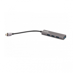 Хаб-юсб Type-C Maxxter HU3С-4P-02, USB 3.0, на 4 порти, метал