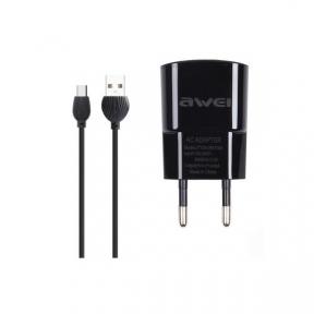 Зарядний пристрiй USB 220В Awei C-831 c MicroUSB (2USB, 2.1A) black