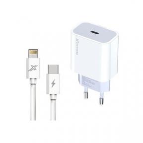Зарядний пристрій USB 220В Grand-X (CH-770L) USB-C 20W PD3.0 швидка