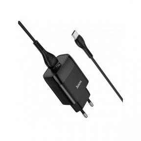 Зарядний пристрій USB 220В Hoco C72Q c Type-C QC3.0 black