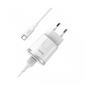 Зарядний пристрiй USB 220В Hoco C73A c Type-C (2USB 2.4A) white