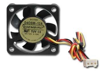 Вентилятор 40 mm Gembird D40SM-12A, 40x40x10мм, 70мм кабель 3-pin