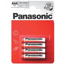 Батарейка R3 сольова Panasonic Red Zinc R03RZ / 4BP, AAA / (L) R03